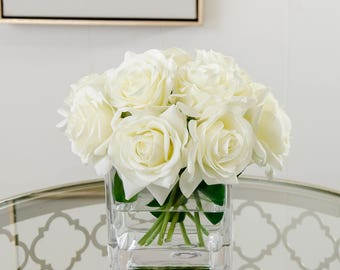 Real Touch White Roses Arrangement Artificial Faux Silk Flowers Square Glass Vase for Home Decor