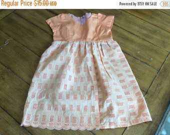 Sale Size 3 4/5 Vintage Girls eyelet lace  tunic dress - Novelty - Country - Spring summer  handmade homemade mid century