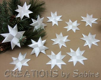 Flat White Christmas Stars Set of 12 Folded Ribbon Origami Froebel Star Table Decor Hanging Strings Satin Finish Holiday READY TO SHIP (147)