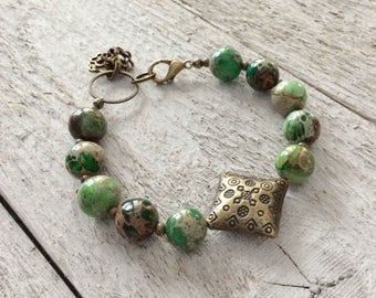 """Green Imperial Jasper Bracelet / One-of-a-Kind / Stones / Antique Brass / Brass Charms - 7"""" long"""