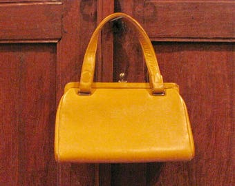 Vintage 1950s Buttercup Yellow Leather Handbag