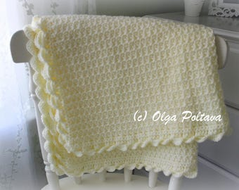 Baby Blanket Crochet Pattern, Crochet Star Stitch Baby Afghan with Scalloped Trim, Crochet Pattern and Tutorial, Instant PDF Download