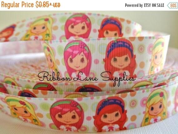 "50% OFF 7/8"" Ribbon by the yard-Strawberry Shortcake Girl and Friends Polka dot Grosgrain ribbon-supplies by Ribbon Lane Supplies"