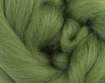 Olive Merino Wool Top - 23 Mic 64's -  Needle Felting - Spinning - Wet Felting - Nuno Felting - Wet Felting