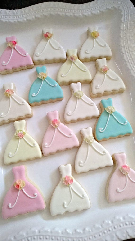 15 Pieces Petite Sized Wedding Dress Cookies - Cookie Favors, Wedding Cookies,  Bridal Shower Cookies, wedding gown cookies