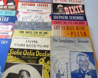 Lot of 75 Vintage Sheet Music, Mixed, 1940's and 1950s, Great vintage covers, Craft Use