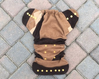 Cloth diaper cover, one size fits most, wool soaker, cloth nappy cover, wool wrap - brown and tan scrappy patchwork