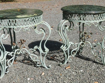 Pair of French Wrought Iron and Marble Art Deco Style Tables by Rene Drouet