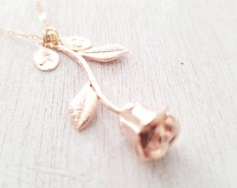 Rose Necklace with initial gift for mom | Beauty and the Beast | Anniversary Birthday Bridesmaid gift for mom sister Personalized Gift