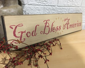 God Bless America | Rustic Wall Decor | Gallery Wall Decor | Wooden Sign
