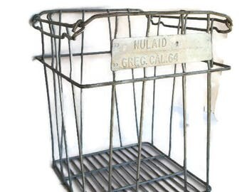 large rustic wire egg crate could be used for book organizing, fireplace logs, farmhouse decor or in the garden or patio