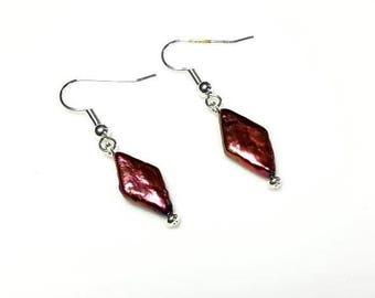 Red Purple Diamond Shaped Freshwater Pearl Earrings Hypoallergenic Earrings Nickel Free Earrings Beaded Dangle Drop Jewelry Gifts for Her