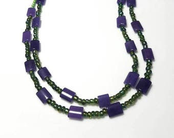 multi strand purple Malaysia jade necklace lime green seed beads necklace boho beaded jewelry unique Bohemian necklace gifts for her