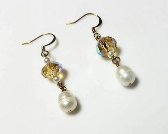 golden crystal rondelle white freshwater pearl dangle earrings hypoallergenic earrings nickel free earrings light amber drop beaded jewelry