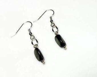 beaded gray shell nugget silver earrings hypoallergenic earrings nickel free earrings dangle drop minimalist earring everyday simple jewelry