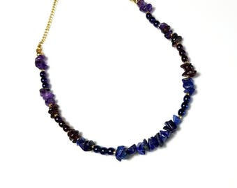 blue lapis lazuli amethyst gemstone necklace cobalt blue beaded stone jewelry unique purple chips necklace gifts for her necklaces for women