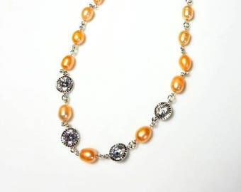 peach freshwater pearl silver necklace clear crystal bezel necklace elegant statement necklace beaded chain jewelry necklaces for women