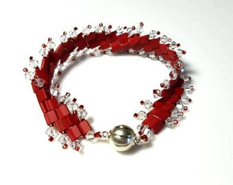 red seed beads clear crystals cuff bracelet red tila beads bracelet magnetic clasp bracelet unique complex beaded jewelry gifts for her