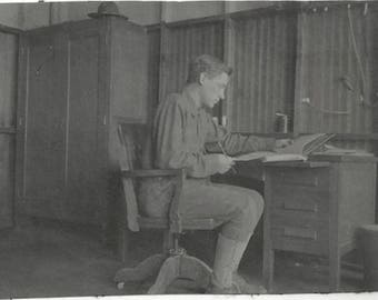 Old Photo Ww1 Us Soldier Sitting at Desk 1910s Photograph Snapshot vintage