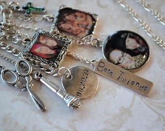 Twins, Sisters, Best Friends, Microphone, Scissors, Cross, Photos, Photo Charms, Birthday, 21st Birthday, Best Friend Necklace,  BFF, Chains
