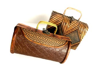 2 Retro Wood and Leather Brown Purses, sold as a set
