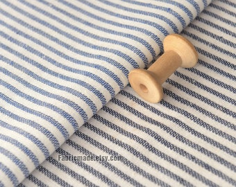 Reversible Yarn Dye Stripes Linen, Denim Blue Black and White Stripes Linen Cotton Blended Fabric - 1/2 Yard