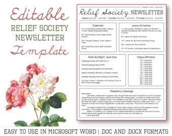 Relief Society Newsletter Template for Microsoft Word - EDITABLE - LDS Download - Printable