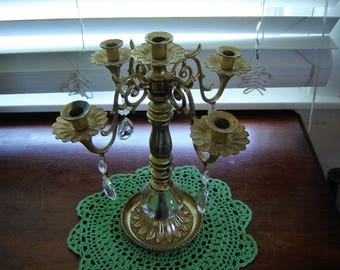 Vintage shabby gold candleabra with crystal teardrops 5 taper holder wedding table decor mantle decor