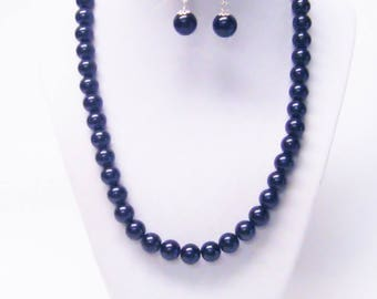 Black 10mm Glass Pearl Princess Necklace & Earrings Set