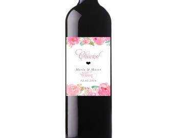 Printable Cheers! Wedding Date Wine Labels Watercolor Floral Custom Wine Labels, Digital File, Personalized Wine Label, Pink - Marla