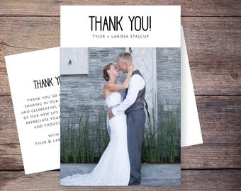 Printable or Printed Wedding Photo Thank You Cards, Wedding Thank You Postcard, Wedding thank you cards photo, personalized thank you