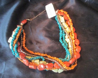 Festive Beaded Cluster Necklace