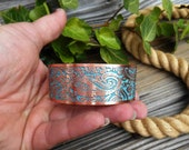 Paisley Copper Cuff, Turquoise Blue, Paisley Jewelry, Bracelet Cuff, Copper Jewelry, Ready to Ship, Rustic Wedding Jewelry, Bridal Jewelry