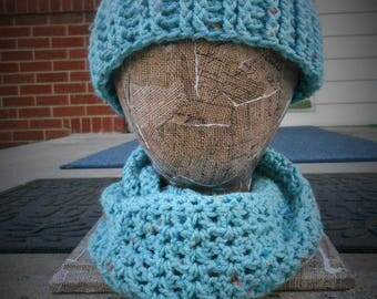 Aqua Messy bun hat with matching infinity scarf.