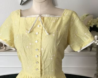 Yellow 50s Day Dress w/ White Trim And Polka Dots
