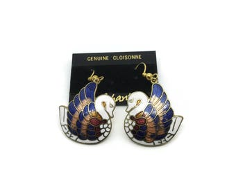 Swan Earrings | NOS Cloisonné Vintage Earrings | Drop Dangle | Enamel Earrings | Birds | Bird Earrings For Pierced Ears