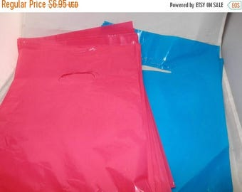 On Sale 100 pack 9 x 12 Hot Pink and Teal Blue Glossy Retail Merchandise bags  Low Density Plastic Merchandise Gift Bags