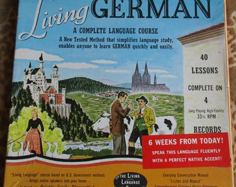 Vintage Record Set - Living German, A Complete Language Course, 40 Lessons on 4 33 1/3 RPM Records, German-English, Common Usage Dictionary