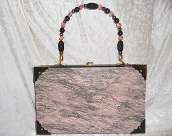 Cigarbox Purse, Soft Cowhide Embossed leather, Tina Marie Purse, Vintage Cigar Box, Pale Pink and Grey