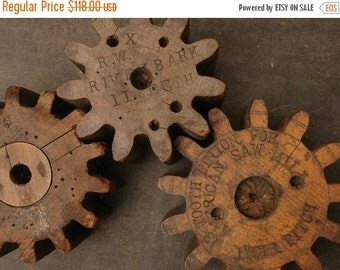 ON SALE 3 antique industrial wooden gear mold/forms, factory antique saw mill