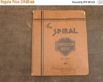 "ON SALE vintage ""the spiral"" bound composition notebook, school education unused!"