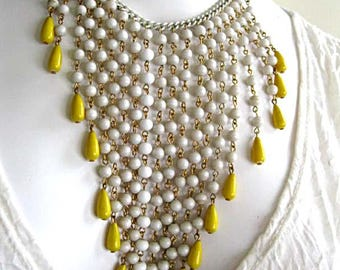 White Glass Beads Cascade Waterfall Necklace, Yellow Teardrop Beads, V-Neck Long Bib, Coated White Enamel, Adjustable Chain Length