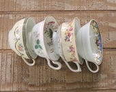 Mismatched Cottage Style Tea Cups Set of 4, Shabby Chic, Tea Party Shabby Cottage, Soy Candle Cups, Bridesmaid Gifts