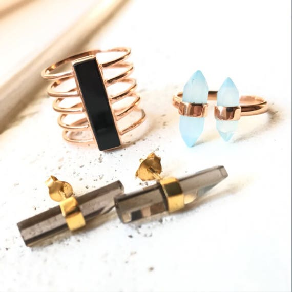 Onyx Rose Gold Ring, Smoky Quartz Gold  earrings, Chalcedony rose gold ring, crystal jewelry