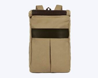 No. 7 Roll Top Backpack Black, Black Large Backpack, Weekend Backpack, Large Backpack, Large Commuter Laptop Backpack, Black Canvas Roll Top