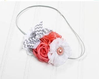 CLEARANCE 40% OFF Darling headband in fun chevron in grey, coral and white (RTS)