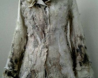 Felted jacket, Nuno Felted jacket, Felted Coat, Nuno Felted Coat, Merino Wool Coat, Beige Coat, Hand Felted Coat, Boho Coat, White Wool Coat