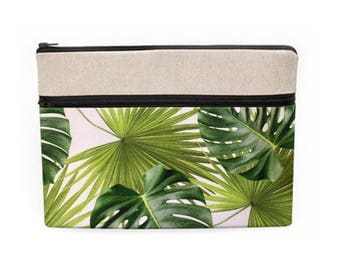 Tropical Laptop Sleeve, Banana Leaf Macbook Case, Jungle Laptop Sleeve, Monstera Surface Pro Sleeve, Laptop Zip Pocket - tropical palm leaf