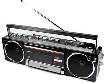 National RX-F2F Vintage Portable FM Radio Cassette Player Boombox Ghetto Blaster