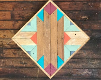 "Reclaimed Lath Wood Southwest Wall Art 13""x 13"" Sage green/Turquoise/Magenta/Orange"